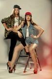 两个美好的女孩模型 免版税库存照片