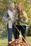 两个老妇人在庭院里 库存图片