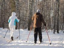 两个老年人在冬天公园去滑雪与滑雪杆 好明亮的天 健康生活方式 回到视图 免版税库存照片