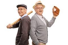 两个老朋友和棒球队友 库存图片