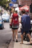两个背包徒步旅行者 免版税库存照片