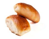 两个自创饼用在白色背景隔绝的圆白菜 库存照片