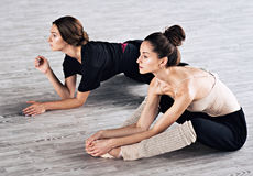 两个舞蹈家朋友实践在舞蹈演播室 库存图片