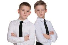 两个英俊的年轻男孩 库存图片