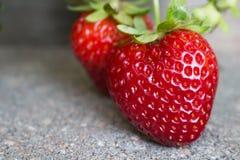 两个草莓,一心形,在摊铺机 免版税库存图片