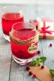 两个莓果饮料用香料为冷的冬天 免版税库存照片