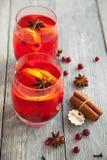 两个莓果饮料用香料为冷的冬天 库存图片