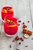 两个莓果饮料用香料为冷的冬天 免版税库存图片