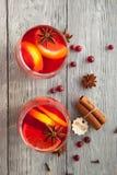 两个莓果饮料用香料为冷的冬天 库存照片
