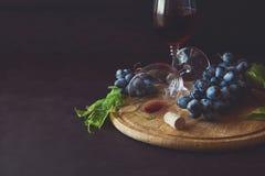 两个葡萄酒杯用红葡萄酒和葡萄 免版税库存照片