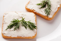两个薄脆饼干用莳萝被涂的乳酪和小树枝  免版税库存图片