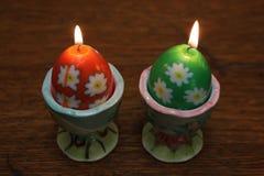 两个蛋形蜡烛 免版税库存图片