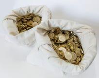 两个袋子在白色的硬币 库存图片