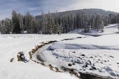 两个远足者沿一条小河走在一个晴朗的冬日 库存图片
