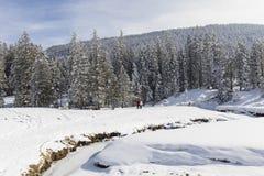 两个远足者沿一条小河走在一个晴朗的冬日 免版税库存图片