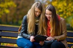 两个逗人喜爱的女学生女孩坐一条长凳在秋天公园 免版税库存图片