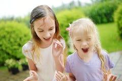 两个逗人喜爱的妹获得乐趣在温暖的夏天雨下 库存照片
