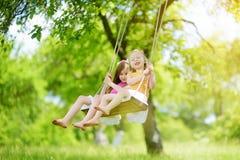 两个逗人喜爱的妹获得在摇摆的乐趣一起在美丽的夏天庭院在温暖和晴天户外 免版税图库摄影