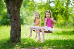 两个逗人喜爱的妹获得在摇摆的乐趣一起在美丽的夏天庭院 免版税库存图片