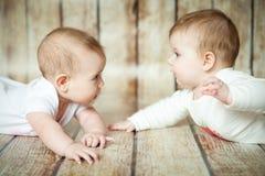 两个逗人喜爱的6个月女孩 免版税库存照片