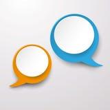 两个通信讲话泡影标签 库存图片