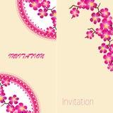 两个邀请葡萄酒卡片用美丽的sacura春天樱桃 库存图片