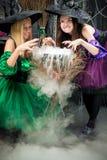 两个邪恶的巫婆酿造在罐的魔药 库存图片