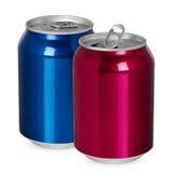 两个铝罐,开放和闭合 免版税库存照片