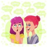 两个闲话女孩例证 免版税库存照片