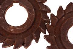 两个难以置信的生锈的巧克力齿轮 图库摄影