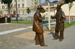 两个雕象在阿尔巴尤利亚堡垒卡罗来纳州城市 特兰西瓦尼亚, 免版税图库摄影