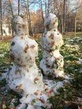 两个雪人在秋天 库存图片