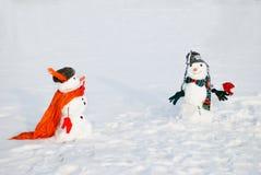 两个雪人-一对可爱的夫妇 库存图片