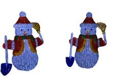 两个雪人-可爱的夫妇孤立 免版税库存照片