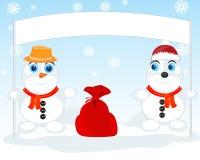 两个雪人 库存照片