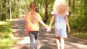 两个青少年的女孩在自然公园举行手上走根据落日后面视图 股票视频