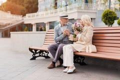 两个领抚恤金者坐在胡同的一条长凳 年迈的人给了妇女花 他握她的手 免版税库存照片