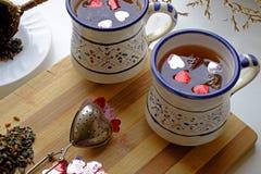 两个风景庄稼边的情人节茶 免版税图库摄影