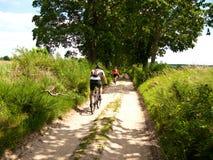 两个骑自行车者在绿色森林里 免版税库存照片