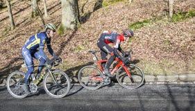 两个骑自行车者-巴黎好2017年 免版税图库摄影