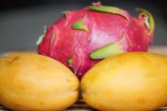 两个黄色成熟芒果和龙果子 免版税库存图片