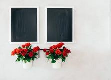 两个黑板和两个微型玫瑰罐在水泥难看的东西墙壁上 库存照片