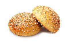 两个整个小圆面包 库存照片