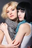 两个年轻可爱的女同性恋者拥抱 库存图片