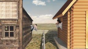 两个年轻邻居 免版税库存照片