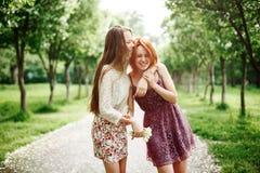 两个年轻愉快的女孩获得乐趣在公园 库存照片