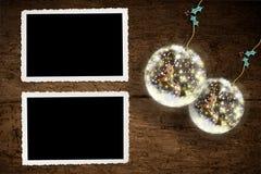 两个画框,圣诞节问候 免版税库存照片