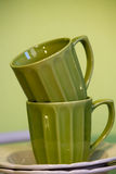 两个绿色杯子 图库摄影