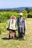 两个稻草人玩偶在庭院里 建造者 免版税库存照片