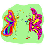 两个蝴蝶恋人谈话 库存照片